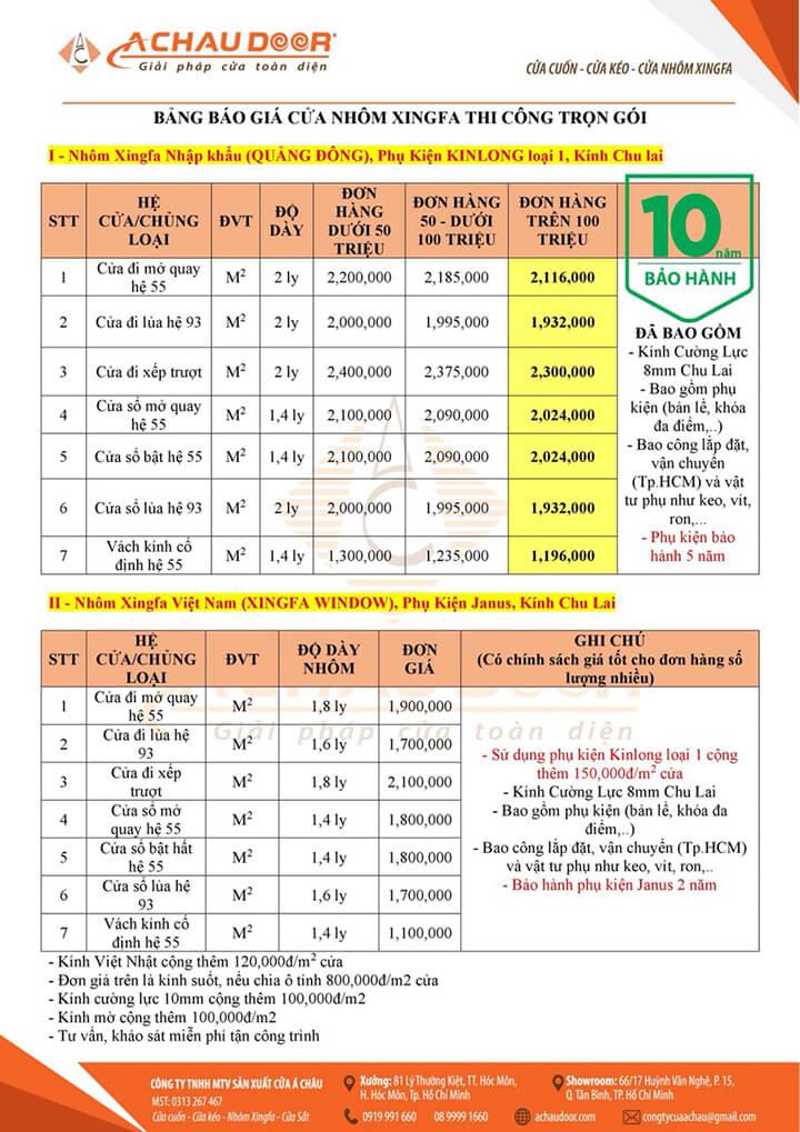 Bảng báo giá cửa nhôm Xingfa TPHCM