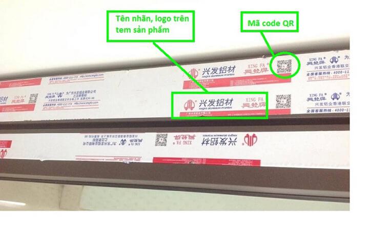 phân biệt cửa nhôm Xingfa thật giả qua mã code