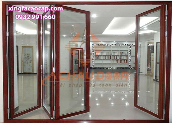Cửa nhôm kính Việt Pháp màu vân gỗ