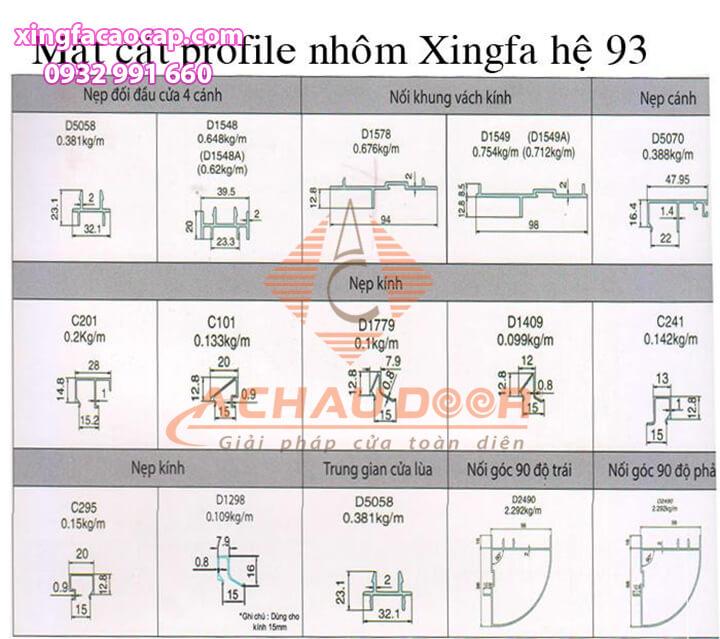 hệ nhôm xingfa 93